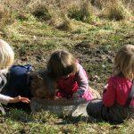 Kinder spielen in der matschigen Wiese