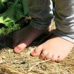Bloße Kinderfüße mit rosarot bemalten Zehennägeln stehn auf einer dürren Wiese